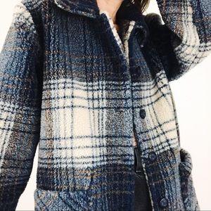 Vintage ✨ Pure Silk Shearling Plaid Jacket